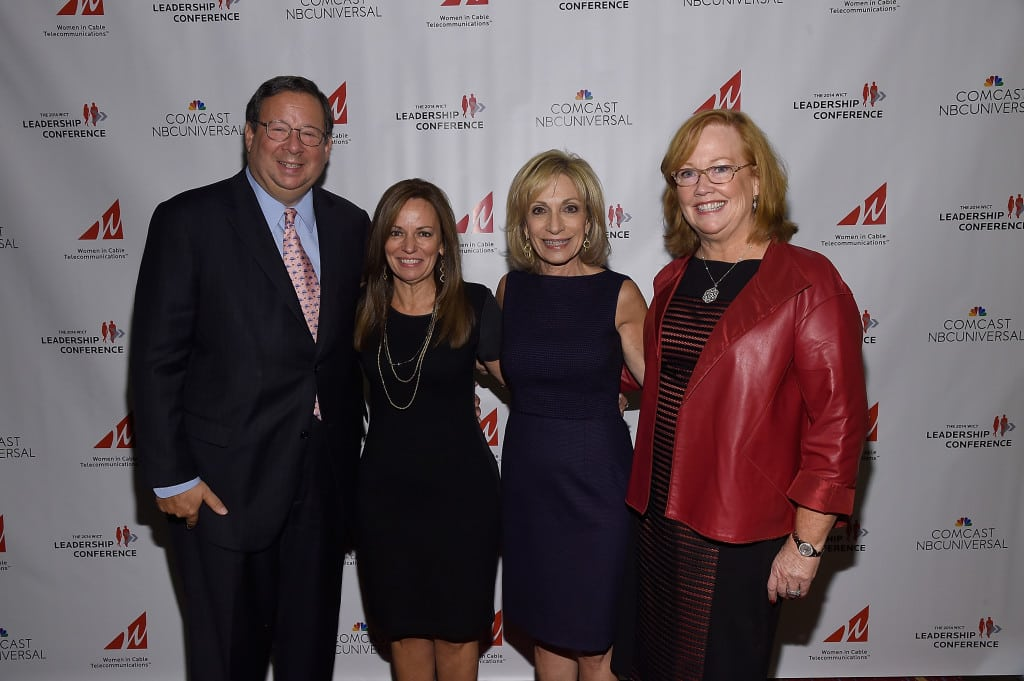 Comcast's David Cohen, WICT's Maria Brennan, Keynoter Andrea Mitchell & Suddenlink's Mary Meduski at the WICT Leadership Conference.
