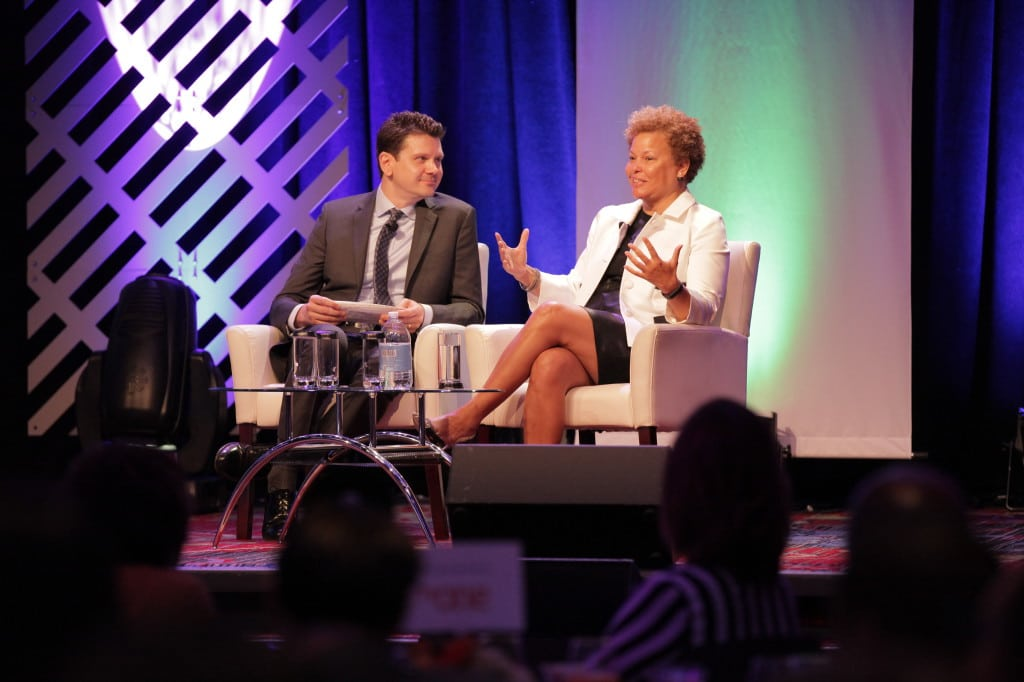Cablefax Associate Publisher Michael Grebb interviews BET's Debra Lee during the Cablefax breakfast at NAMIC.
