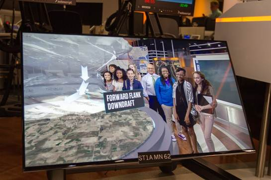 The girls had a chance to get on screen as Stormtracker and AMHQ co-host Jim Cantore gives them a run-down on how our new live interactive augmented reality graphics work.