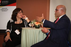 The CableCenter's Mickie Calkins and NCTA's Michael Powell engage in a Fireside Chat at WICT's Senior Executive Summit, held in partnership with the Stanford Graduate School of Business in Palo Alto, CA.
