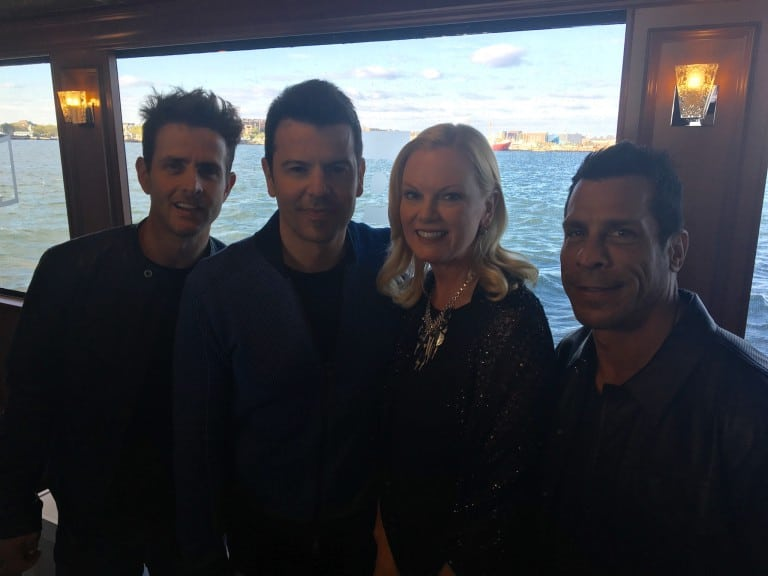 The Weather Channel's Pam Bertino with New Kids on the Block, during Pop's cruise event.