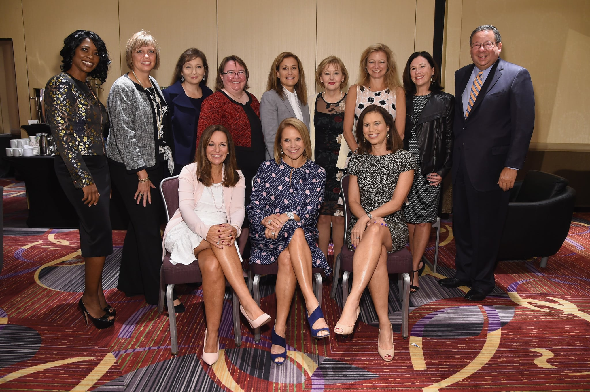 (L-R) Front Row: Maria Brennan, CAE, President & CEO, WICT; Katie Couric, Award Winning Journalist & Bestselling Author; Joanne Lipman, Editor in Chief, USA Today & USA Today Network, Chief Content Officer, Gannett Back Row: Marva Johnson, Vice President, State Government Affairs - South Region, Charter Communications; Sandra K. Howe, SVP & General Manager, Consumer Products Group, ARRIS Group, Inc.; Kathleen O'Reilly, Senior Managing Director, Accenture; Denise Gough, VP, Business & Legal Affairs, Scripps Networks Interactive; Michele Parks, VP, Talent Management, Cox Communications; Martha Soehren, Chief Talent Development Officer & SVP, Comcast; Karen Buchholz, SVP, Administration, Comcast; Mary McLaughlin, Regional SVP, Beltway Region, Comcast; and David L. Cohen, Senior Executive Vice President & Chief Diversity Officer, Comcast Corporation at the WICT Leadership Conference. (Photo by Larry Busacca/Getty Images)