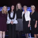(L-R) Sara Eisen, Co-Anchor, Squawk on the Street & Co-Anchor, Worldwide Exchange, CNBC; Fernanda Merodio, Sr. Director, Distribution, Hemisphere Media Group; Julie Neimat, SVP, Global Talent and HR Management, Discovery Communications; Emma Lyon, VP-People, Commercial & HR Services, Liberty Global; and Amy Blair, SVP, Chief People Officer, Liberty Global at the WICT Leadership Conference. (Photo by Larry Busacca/Getty Images)