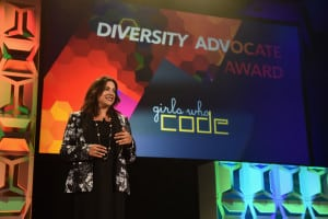 Reshma Saujani, Founder of Girls Who Code accepts the Diversity Advocate Award onstage at the 34th Annual Walter Kaitz Foundation Fundraising Dinner at Marriot Marquis Times Square on September 27, 2017 in New York City. (Photo by Larry Busacca/Getty Images for The Walter Kaitz Foundation)