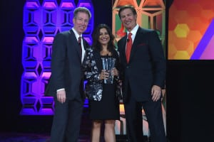 (L-R) Pat Esser, Reshma Saujani, founder of Girls Who Code, and Ken Lowe pose with the Diversity Advocate Award onstage at the 34th Annual Walter Kaitz Foundation Fundraising Dinner at Marriot Marquis Times Square on September 27, 2017 in New York City. (Photo by Larry Busacca/Getty Images for The Walter Kaitz Foundation)