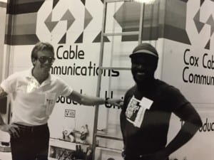 Pete Hogge (L), a 40-year Cox veteran, with George Guion, a former Cox 11 employee, at the Virginia Beach Pavilion for a Ham Radio convention.
