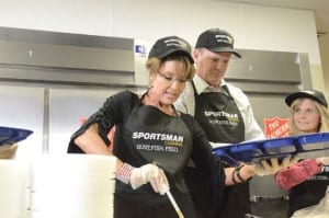 Former Vice Presidential candidate, Alaska Governor and Sportsman Channel host, Sarah Palin, was joined by Matt Hutchings, Executive Vice President and Chief Operating Officer of Kroenke Sports Entertainment, parent company of Outdoor Channel, Sportsman Channel and World Fishing Network, as they prepared food during the Hunt.Fish.Feed program's stop in Las Vegas in 2015.