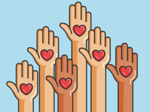 Raised Hands with Hearts Stock Image