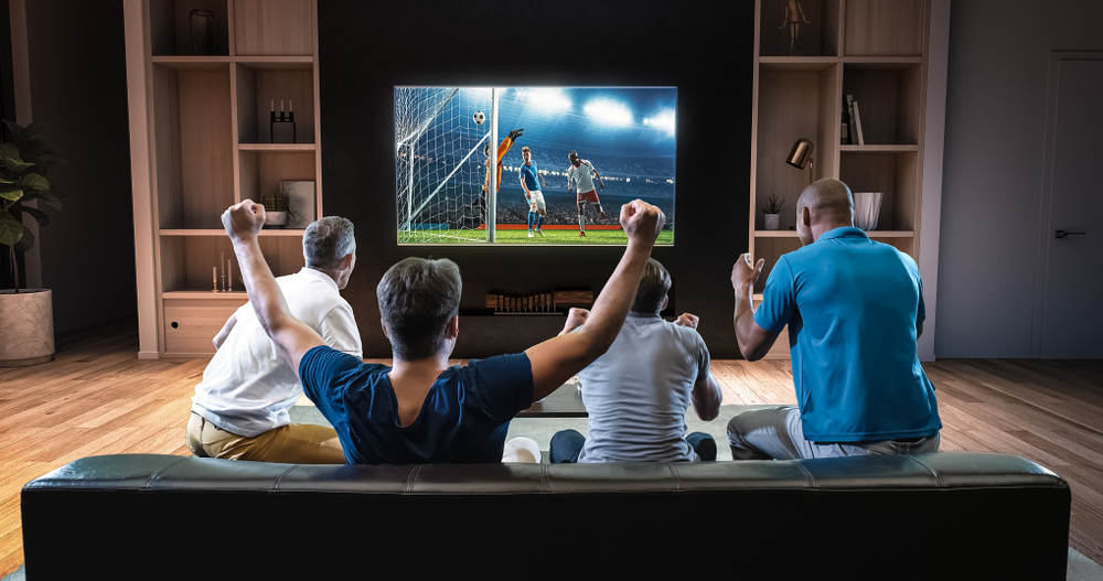 watching live sports stock image