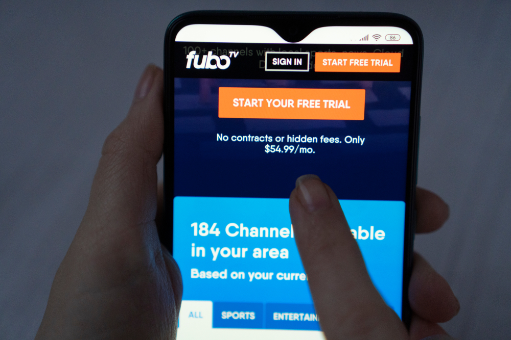 fubotv log-in screen