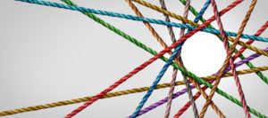 Multi-colored ropes meeting around a circular point