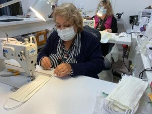 Telemundo employee sews masks during pandemic.