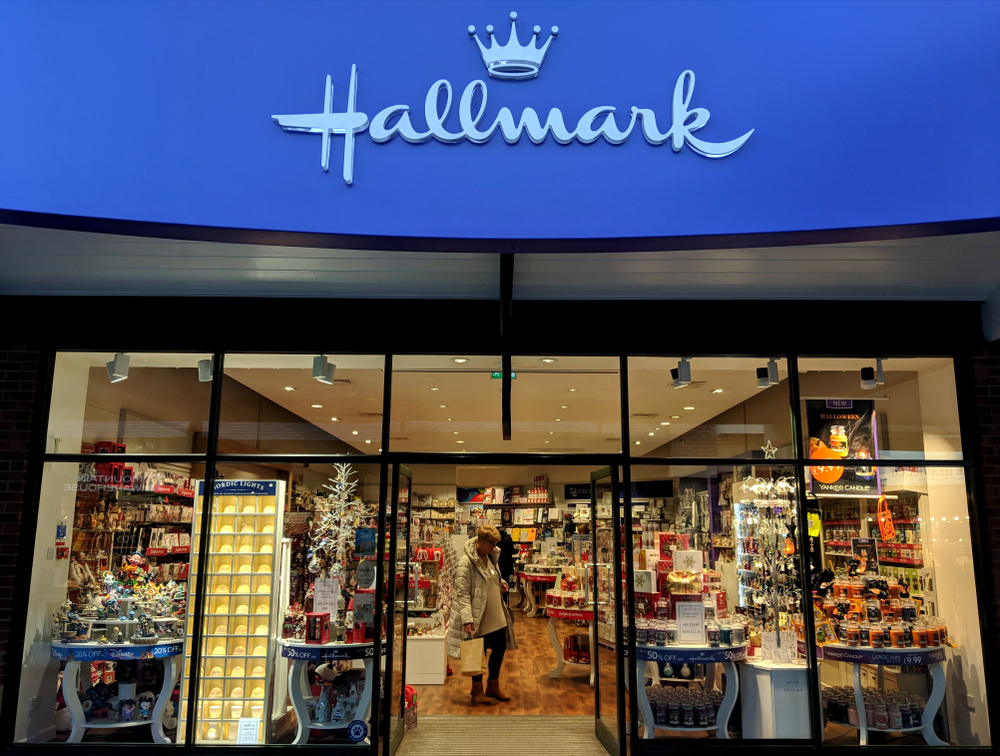 front of Hallmark store
