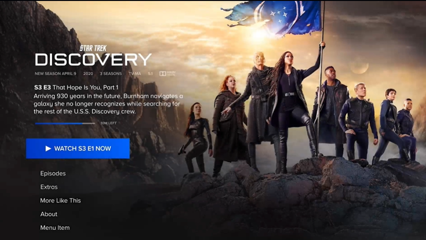 Star Trek Discovery page on Paramount+