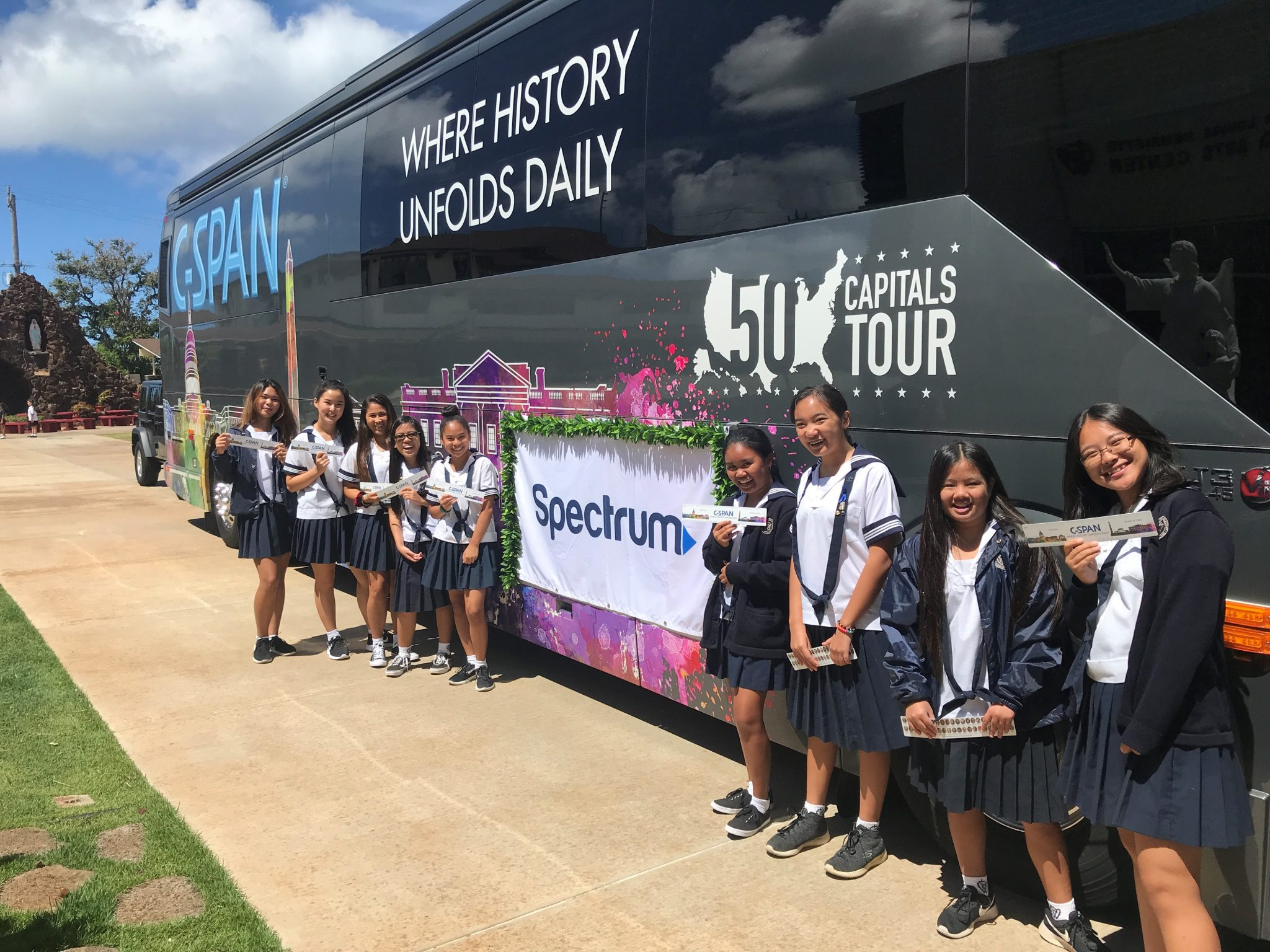 The C-SPAN Bus in Hawaii with Charter as part of the 50 Capitals Tour.